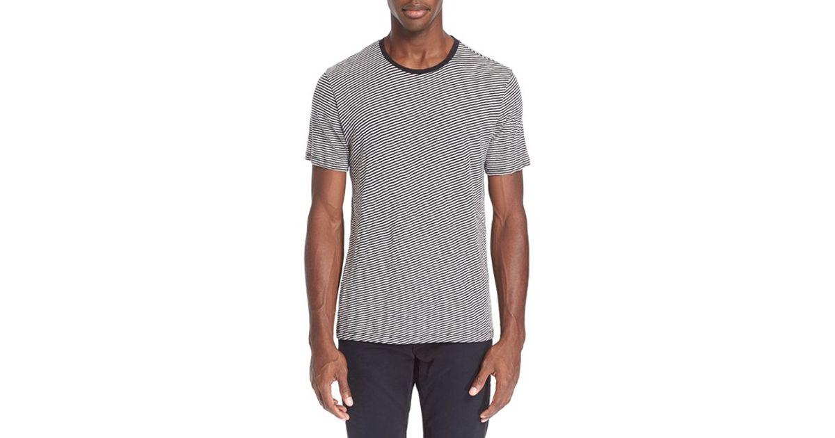 Rag Bone 39 Rupert 39 Diagonal Stripe T Shirt In Gray For