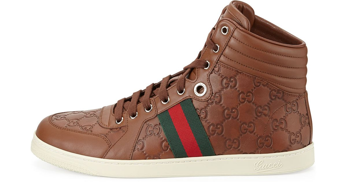 8f848464c84 Lyst - Gucci Leather High-Top Sneakers in Brown for Men