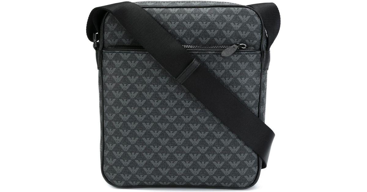 Lyst - Emporio Armani Logo Print Messenger Bag in Black for Men 29e2700ac914e