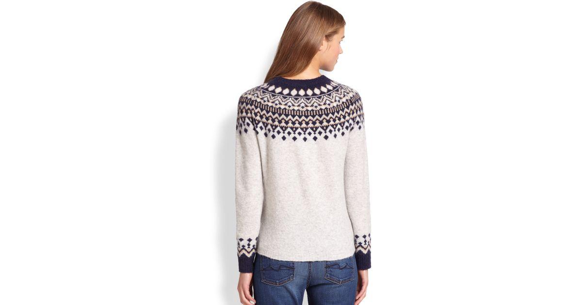 Joie Deedra Fairisle Sweater in Gray | Lyst