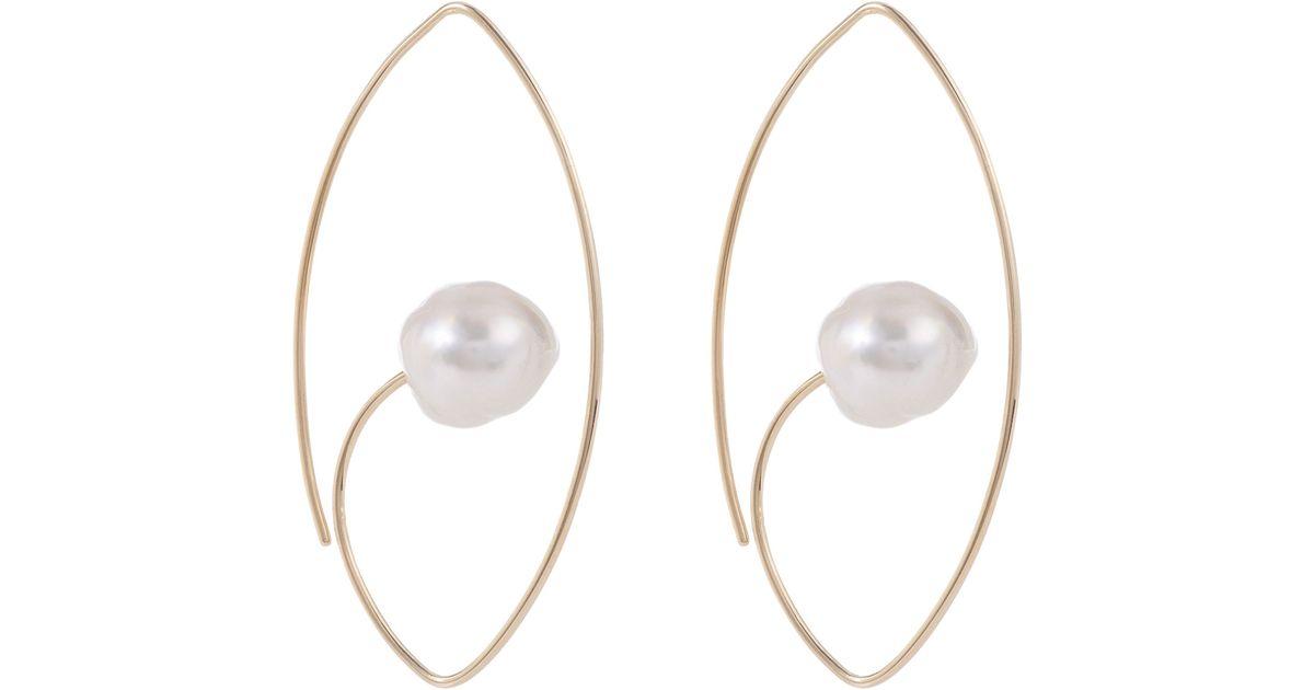 Womens South Sea Pearl & Gold Floating Earring Hirotaka omWmIu