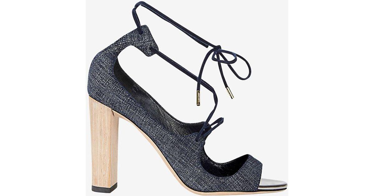 b094d0129fc ... cheap lyst jimmy choo vernie tie up denim sandal in blue af542 405eb  clearance jimmy choo moira suede ankle tie sandal black gray ...