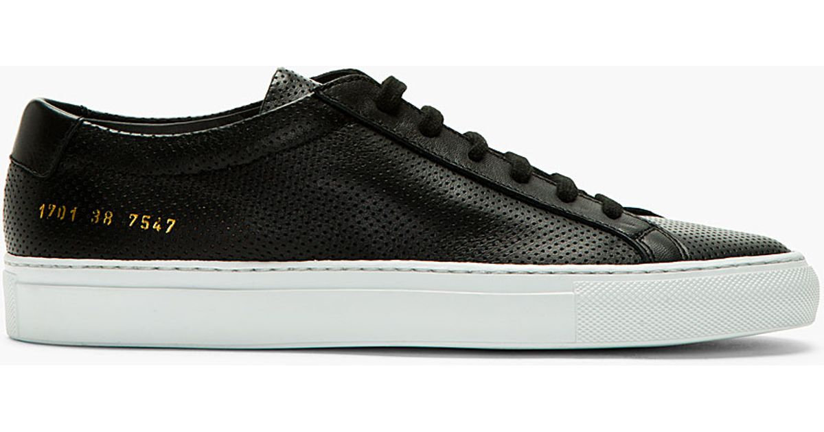 Lyst - Common Projects Black Perforated Original Achilles Sneakers in Black  for Men 26324b3e8