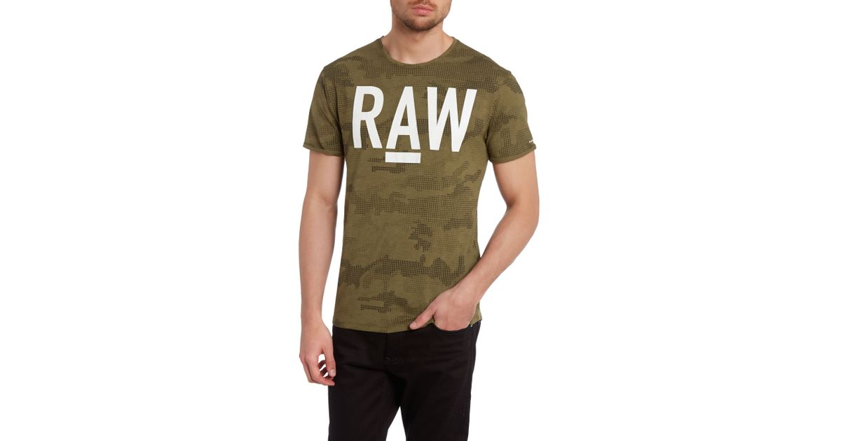 G-Star RAW Cotton Raw Logo Geo Camo Print T Shirt In Green