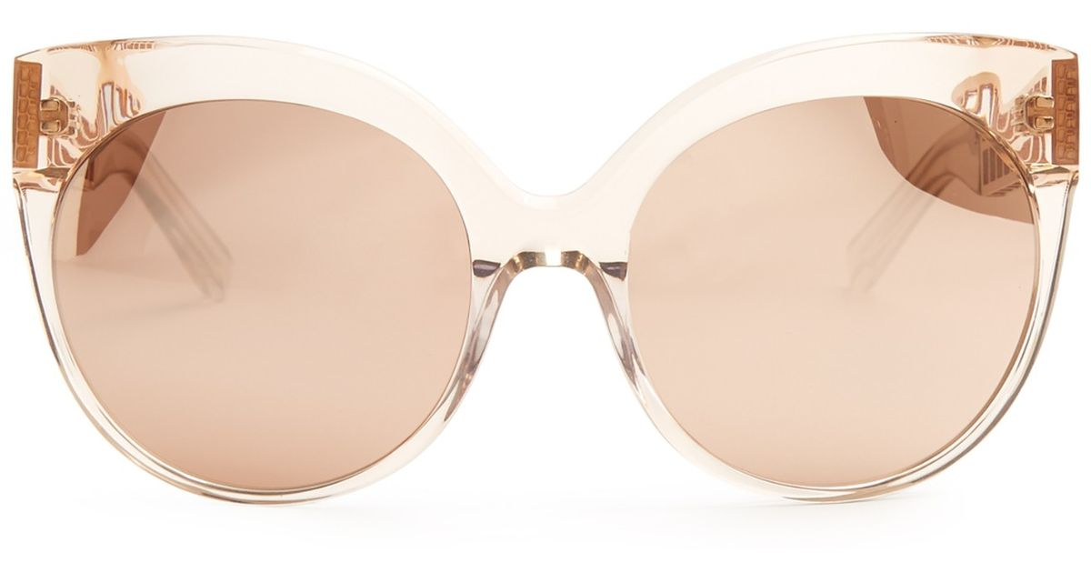 fd4a7a88d0e4 Lyst - Linda Farrow Rounded Cat-eye Rose-gold Plated Sunglasses in Pink