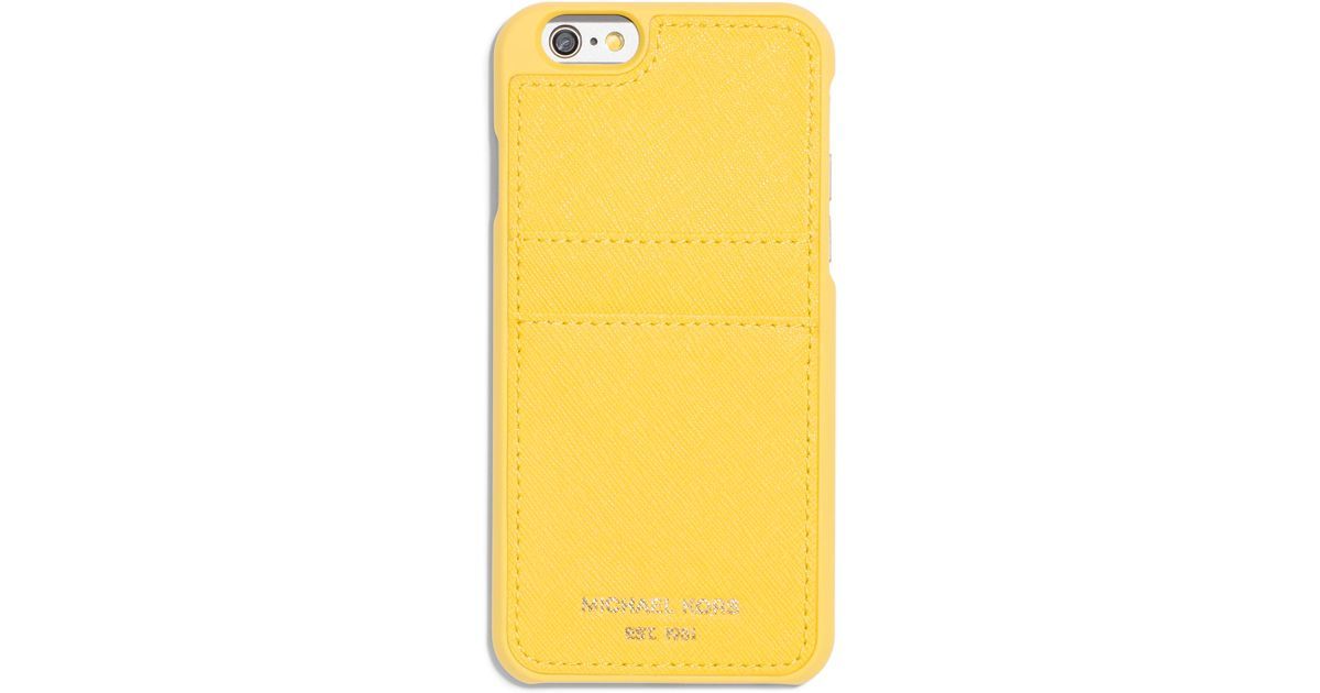 Michael michael kors saffiano iphone 6 case w pocket in for Housse iphone 6 michael kors