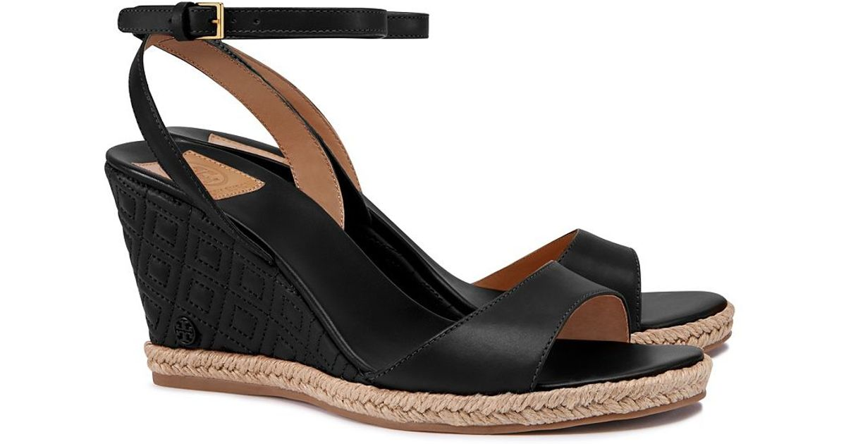 559d1394a706 Lyst - Tory Burch Marion Quilted Espadrille Wedge Sandal in Black