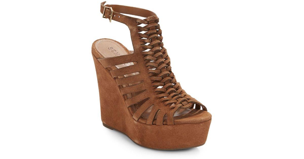 schutz rachelle suede open back wedge sandals in brown lyst