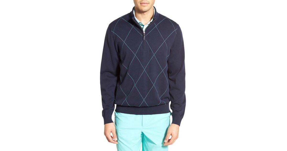 Lyst Cutter Buck Duo Tone Argyle Half Zip Sweater In Blue For Men