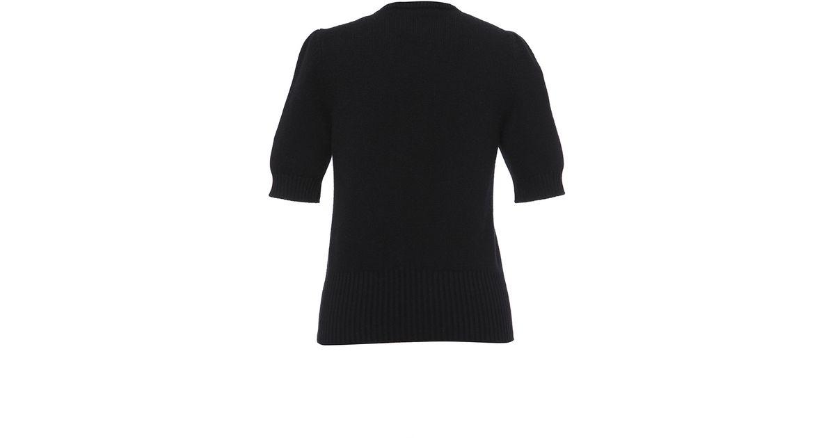 Lyst dolce gabbana short sleeve rose applique knit in black