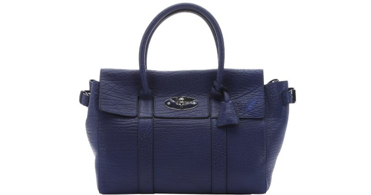 ... netherlands lyst mulberry pre owned indigo shrunken calfskin bayswater  buckle tote bag in blue e2fc9 f0f1c bda3473d18ca0