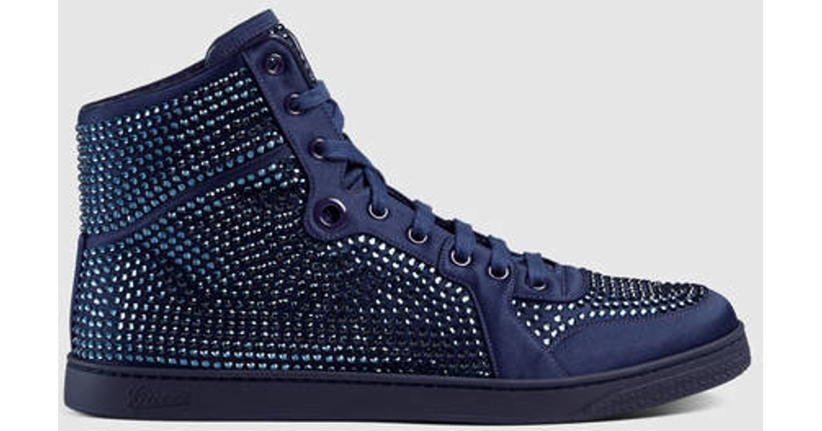 9023f27eb921 Lyst - Gucci High-top Sneaker With Crystal Studs in Blue for Men