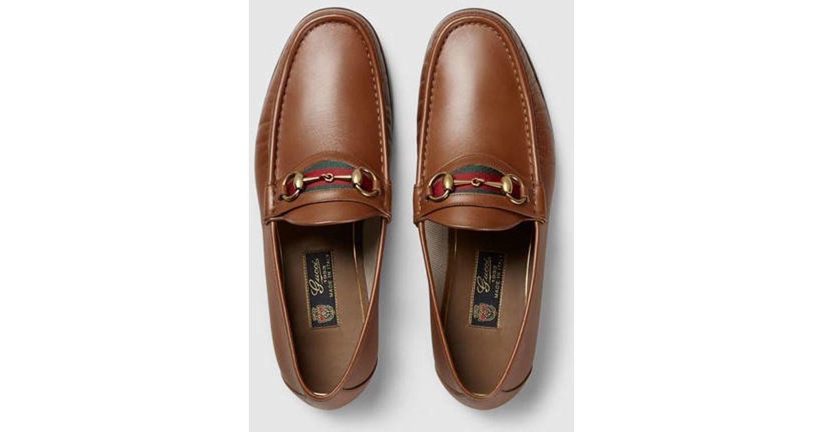 Gucci Brown Men\u0027s Horsebit Leather Loafer for men