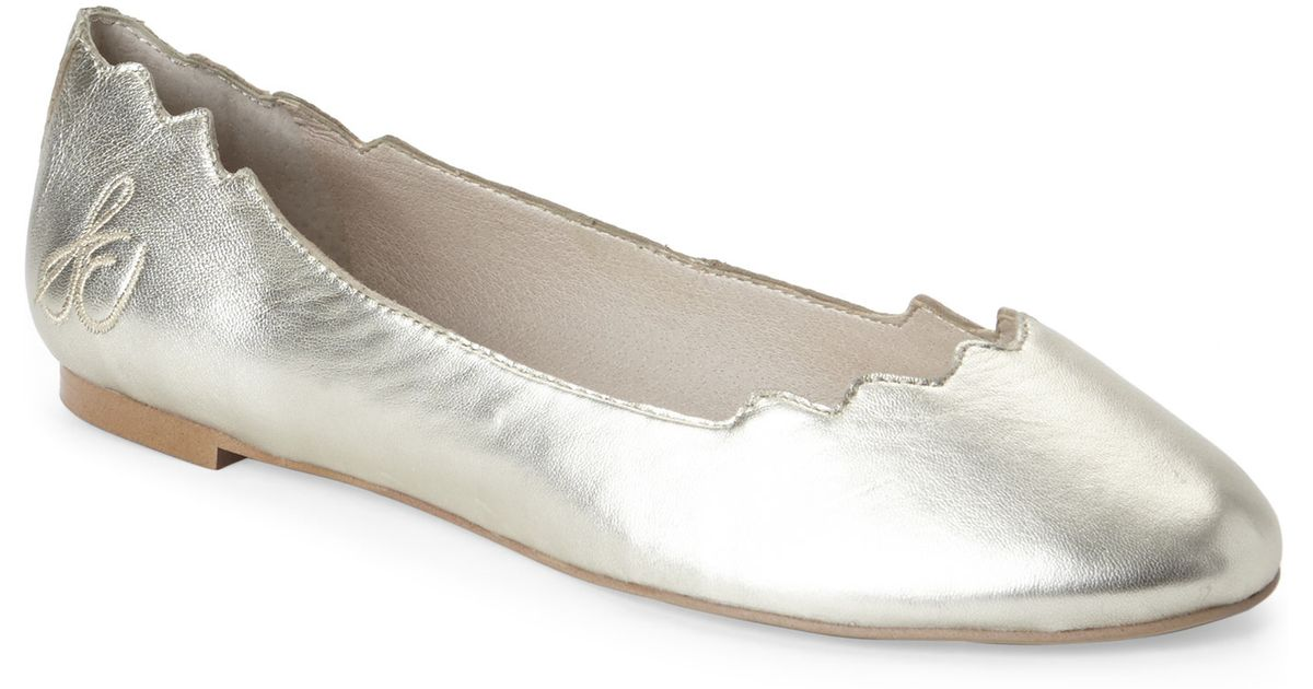 5e3dd5381b842f Lyst - Sam Edelman Gold Augusta Scalloped Ballet Flats in Metallic