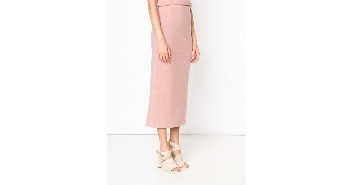 Lyst - Tibi Long Straight Skirt in Pink