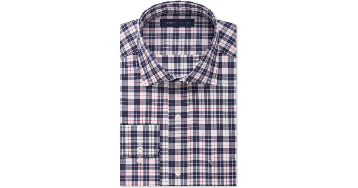 Tommy hilfiger non iron dark navy plaid dress shirt in for Navy blue checkered dress shirt