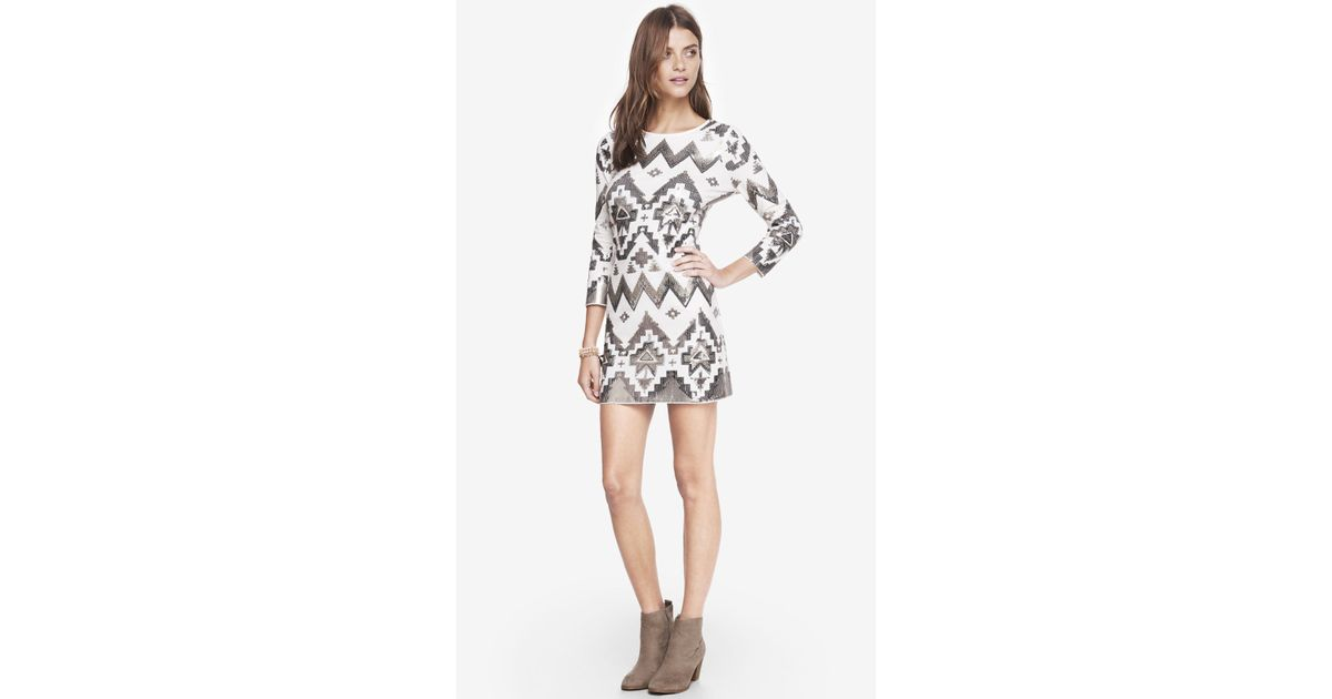 4829453d Express Aztec Sequin Embellished Mini Dress in White - Lyst