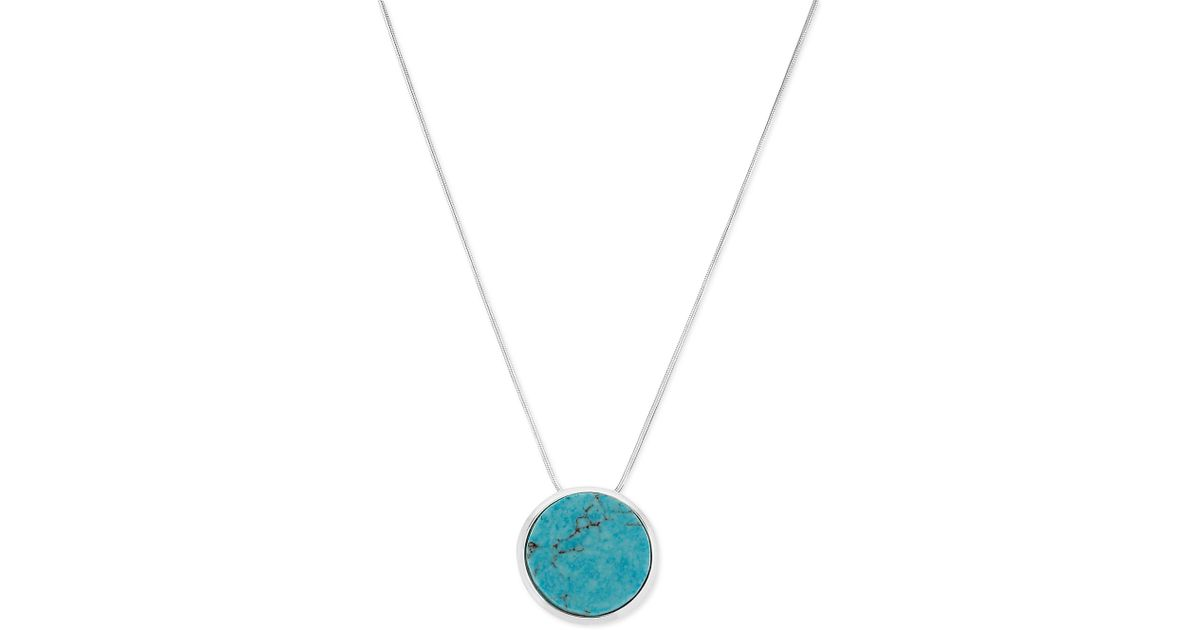 Lyst robert lee morris silvertone turquoise circle pendant lyst robert lee morris silvertone turquoise circle pendant necklace in blue aloadofball Images
