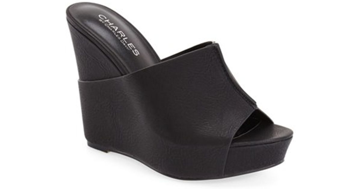 700e4496843 Lyst - Charles David  alamo  Platform Wedge Mule in Black
