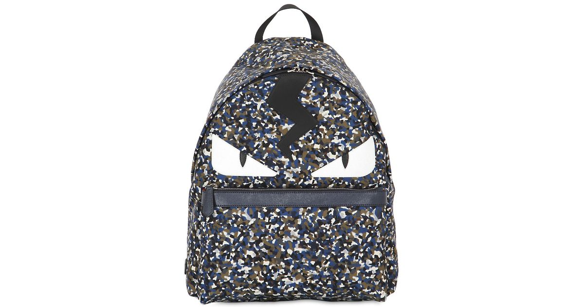 f9ffb0003999 Fendi Monster Printed Nylon Backpack - Lyst