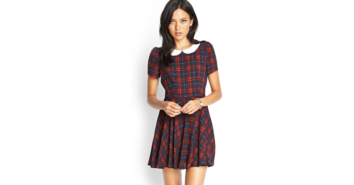 d19a052b06 Forever 21 Plaid Peter Pan Collar Dress in Blue - Lyst