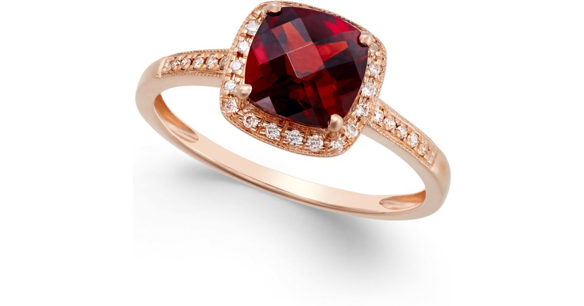 Macy s Garnet 2 1 4 Ct T w And Diamond Accent Ring In 14k Rose Gold i