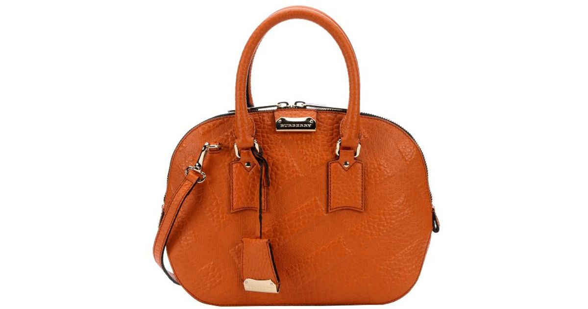2164a6db87a Burberry Copper Orange Check Leather  orchard  Small Bowling Bag in Orange  - Lyst