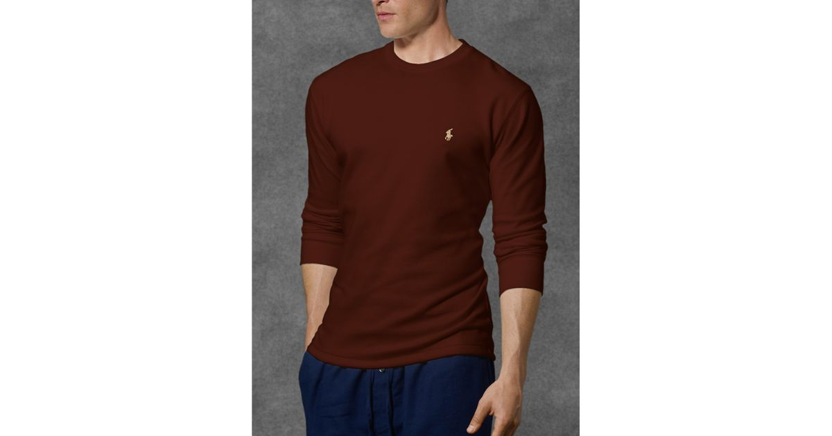 751be1fa Lyst - Polo Ralph Lauren Waffle-knit Crewneck Thermal in Brown for Men