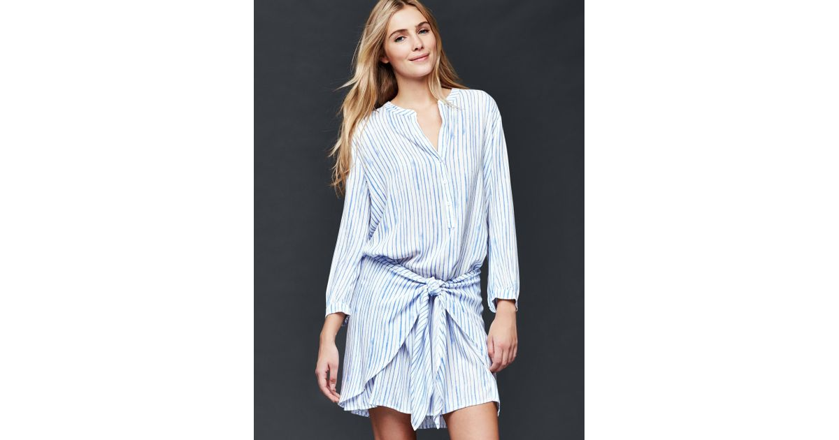 Gap Wrap Tie Stripe Shirt Dress In Blue New Off White Lyst