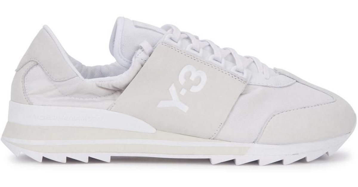 1fd4570dee4ca Y-3 Rhita Sport Off White Leather Trainers in White - Lyst