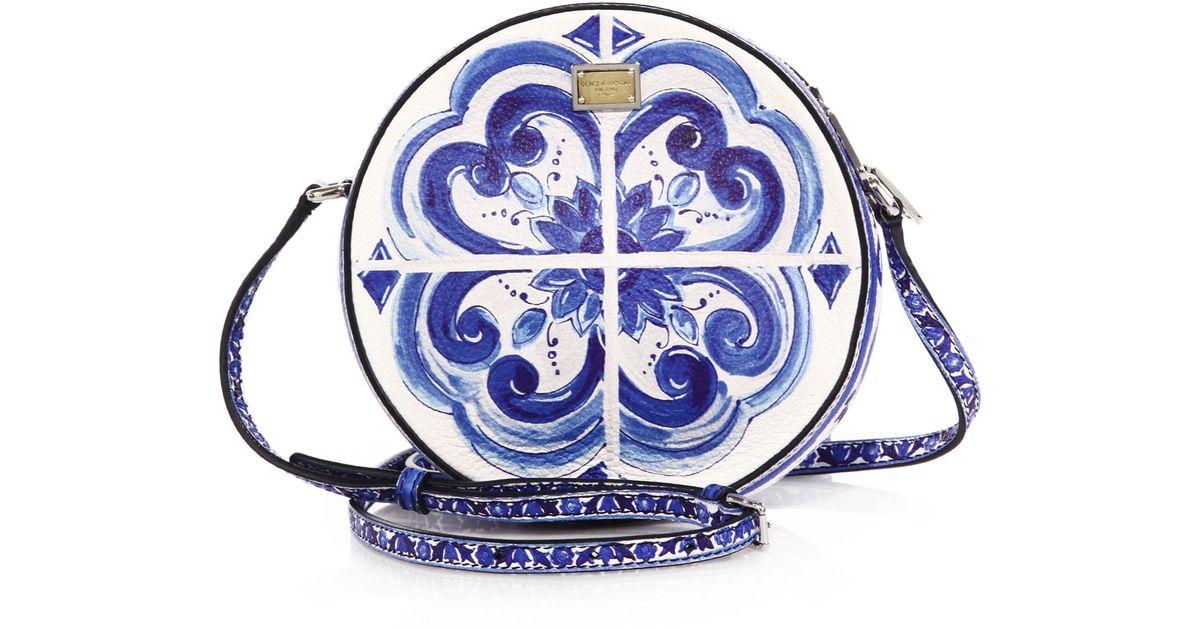 Lyst - Dolce   Gabbana Glam Italian Tile Textured Leather Crossbody Bag in  Blue 28c7986992198