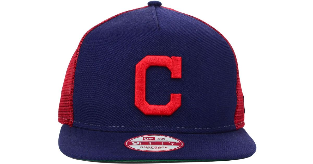Lyst - Ktz Cleveland Indians Trucker A-frame 9fifty Snapback Cap in ...