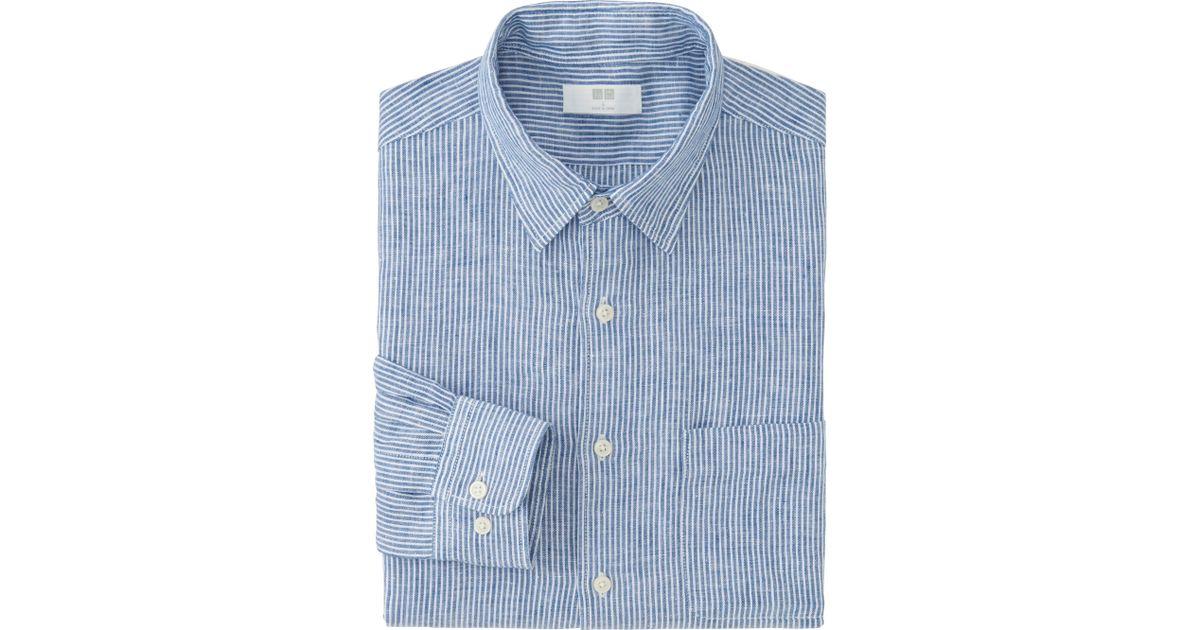 Uniqlo men 39 s premium linen striped long sleeve shirt in for Uniqlo premium t shirt