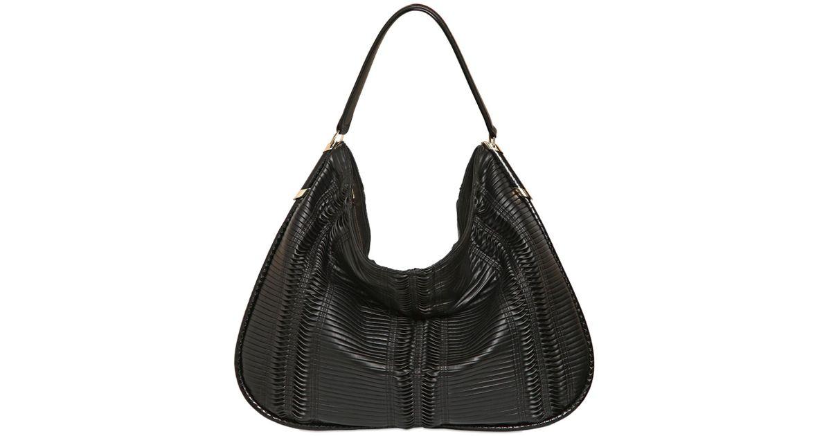 a029681260d6c Jimmy Choo Large Zoe Pleated Hobo Bag in Black - Lyst