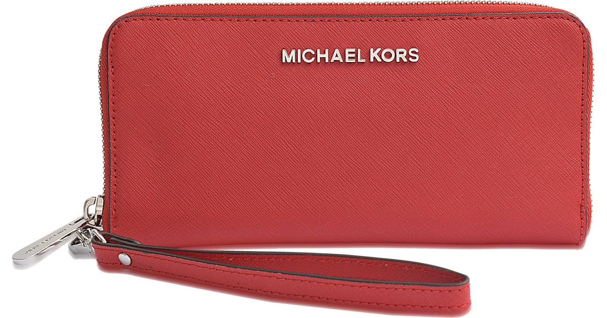 07f01cef2621 ... coupon code for lyst michael kors jet set travel tech continental  rhodium wallet in purple f53b1