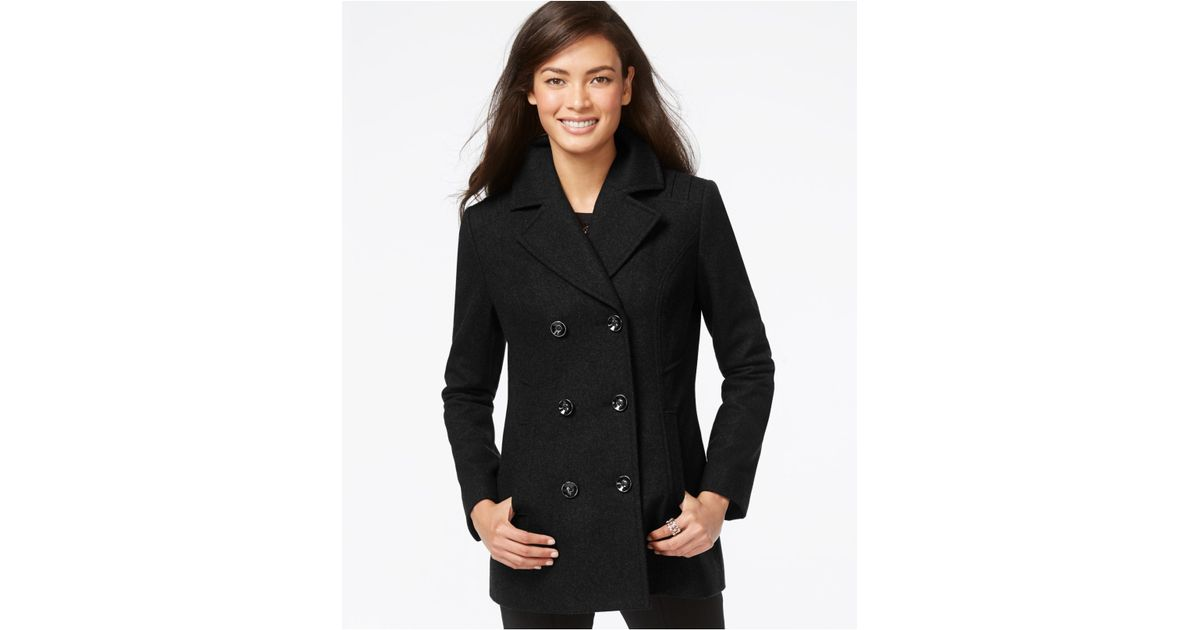 180e46bc23 INC International Concepts Double-breasted Peacoat in Black - Lyst