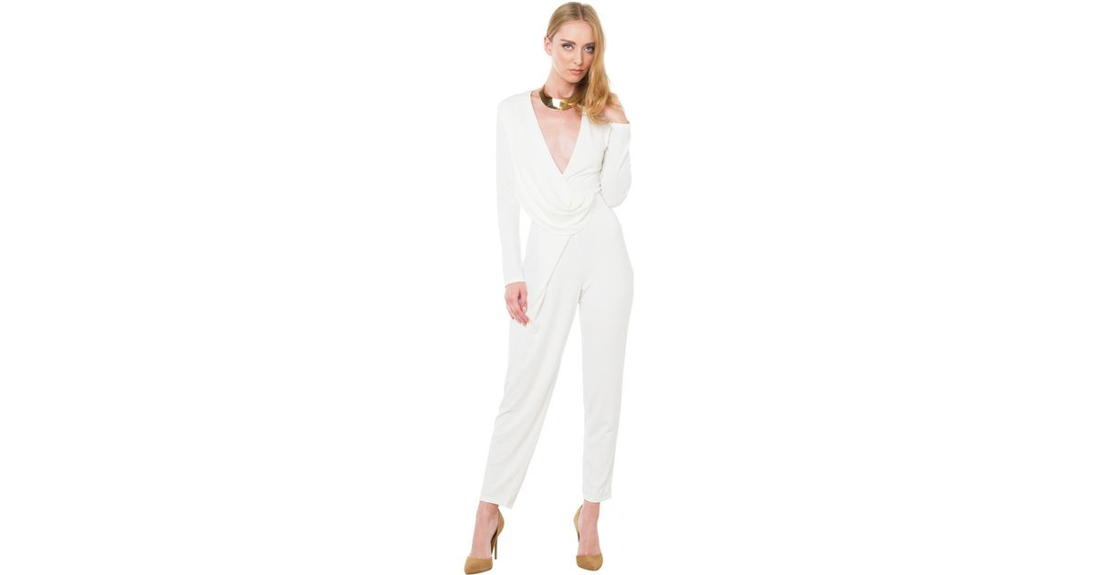 166f5716d43 Akira Black Label Wild Escapes Jumpsuit in White - Lyst