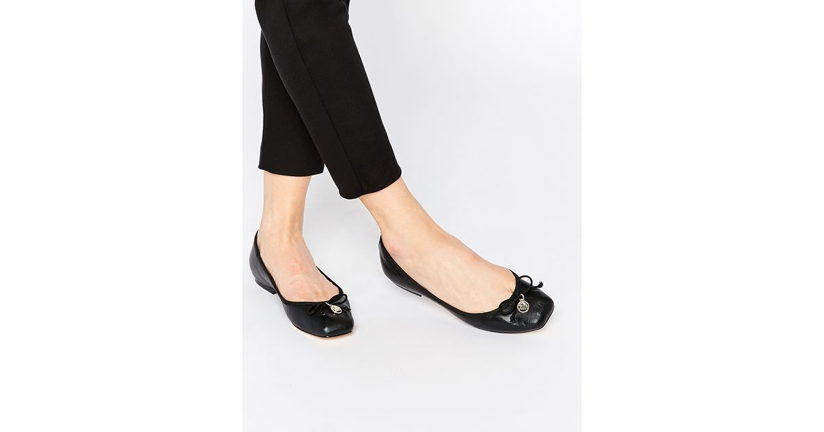 Lyst Faith Austin Leather Square Toe Ballet Flats Black In Black