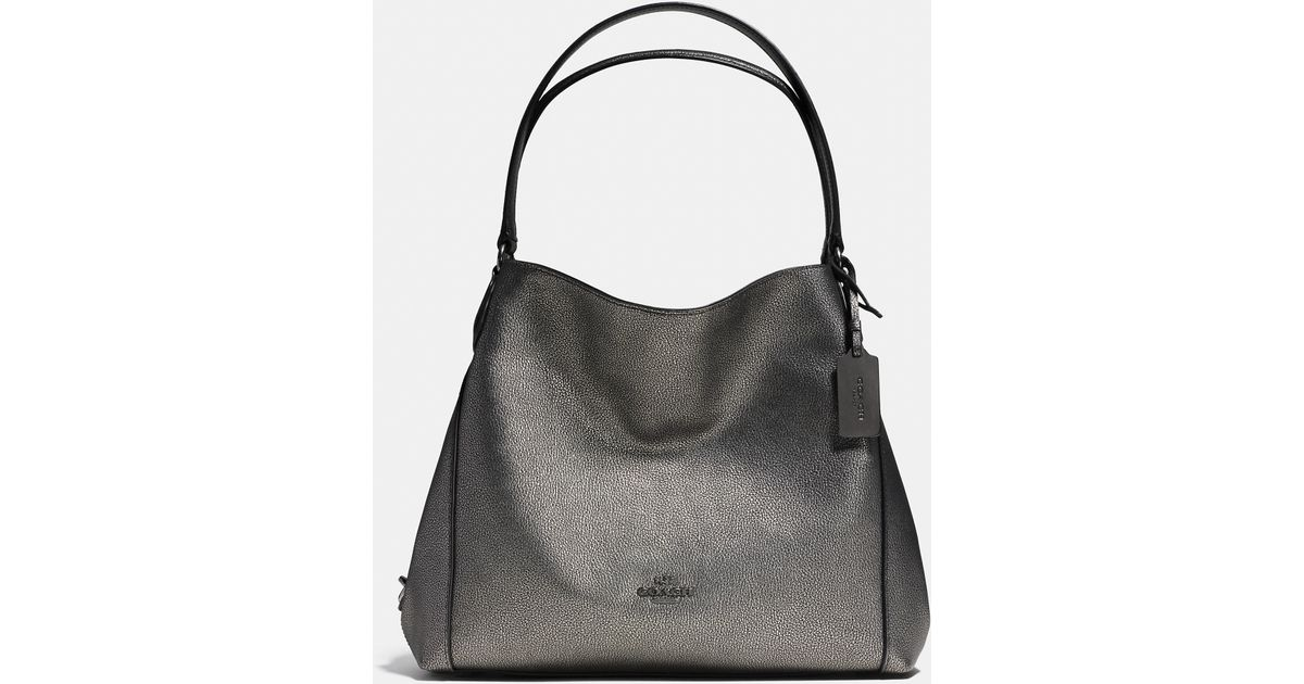 31e5930e3246 Lyst - COACH Edie Shoulder Bag 31 In Metallic Pebble Leather in Black