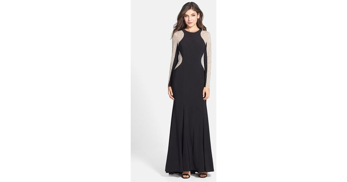 Lyst - Xscape Beaded Illusion Sleeve Jersey Mermaid Gown in Black