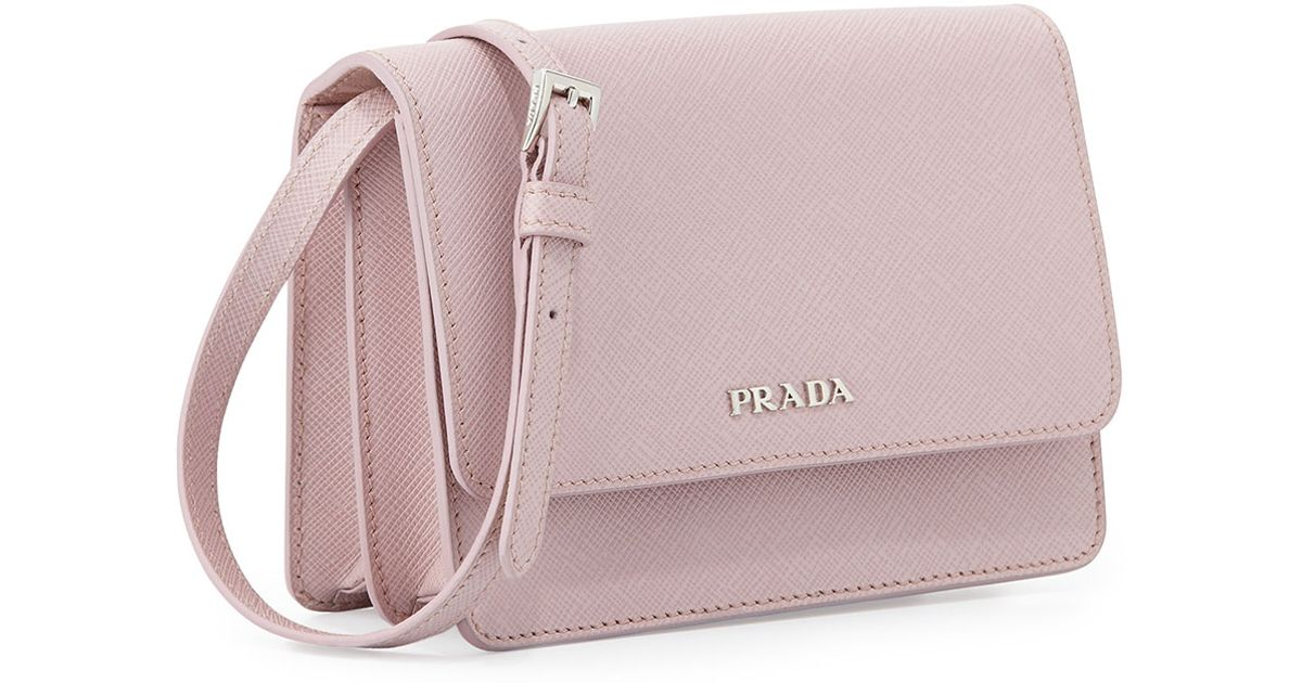 b7690e85c7edbb ... switzerland lyst prada saffiano lux crossbody bag in pink 566d5 13752