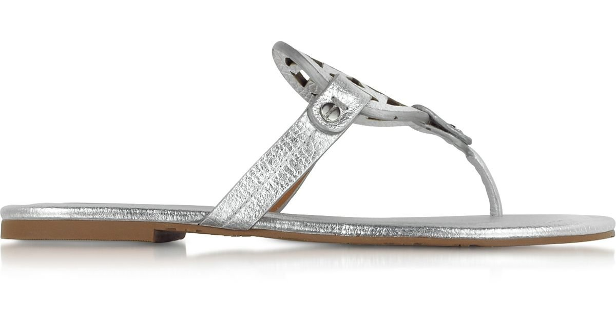 4c73e1161dde42 Lyst - Tory Burch Miller Metallic Silver Leather Sandal in Metallic