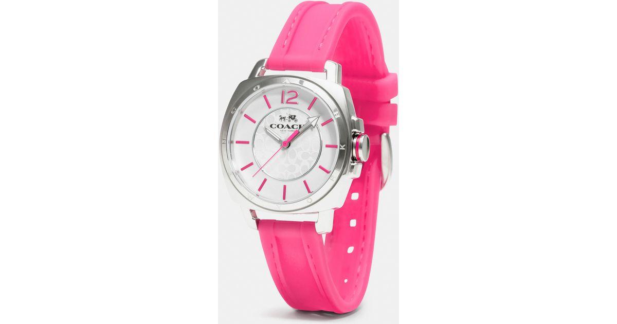 c8a82f053 Lyst - COACH C.O.A.C.H. Boyfriend Stainless Steel Rubber Strap Watch in  Metallic