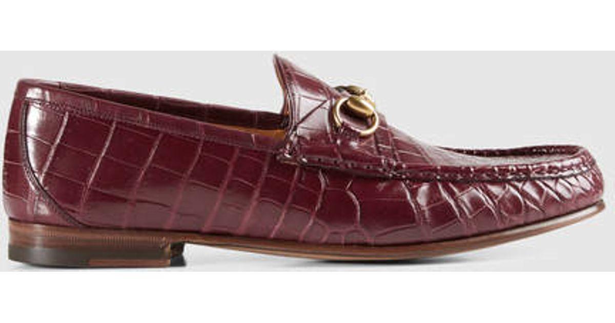 9bb7c887f61 Lyst - Gucci Men s Horsebit Crocodile Loafer in Red for Men