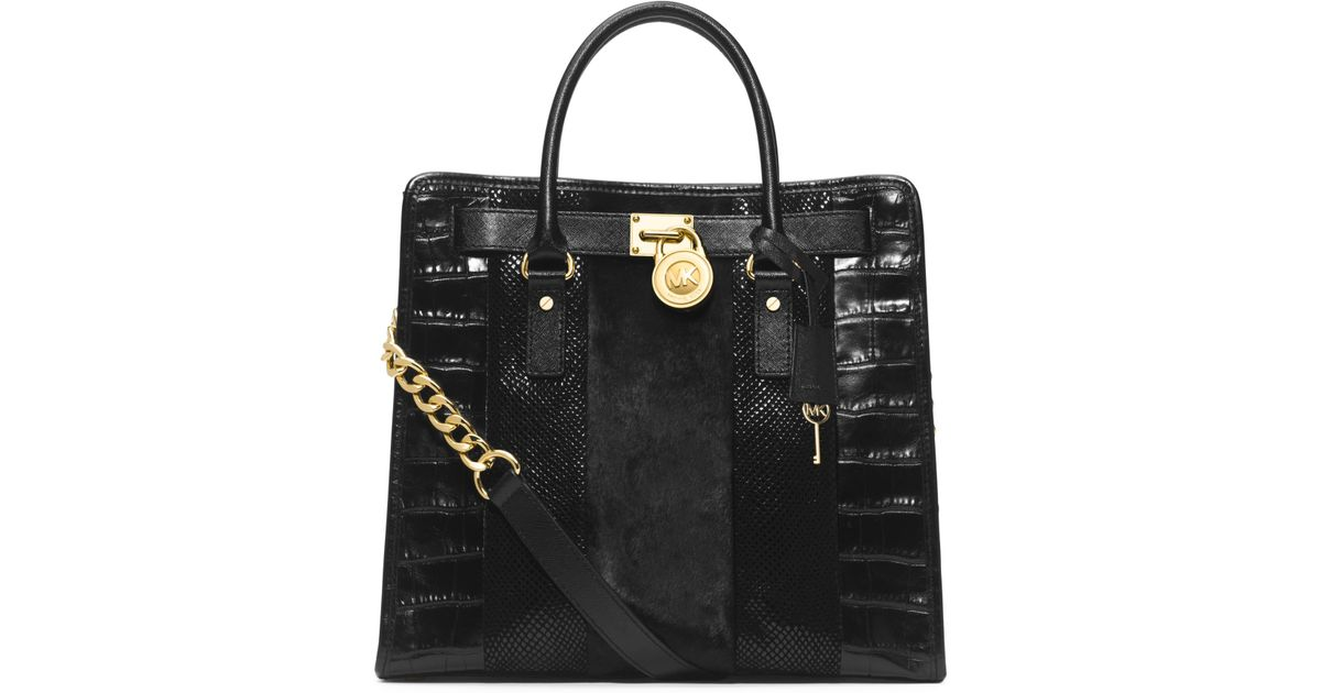734acf4ad3d2 Michael Kors Hamilton Large Hair Calf And Embossed-Leather Tote in Black -  Lyst