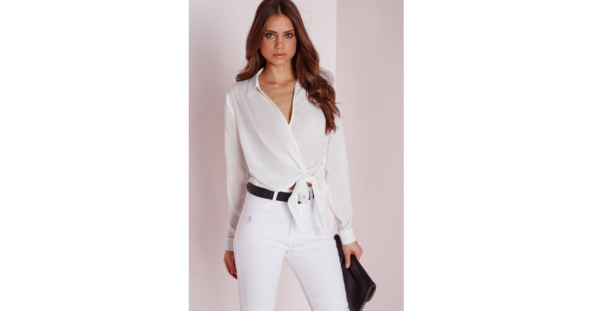 5a24df0fbd59a3 Missguided Wrap Over Tie Side Blouse Ivory in White - Lyst