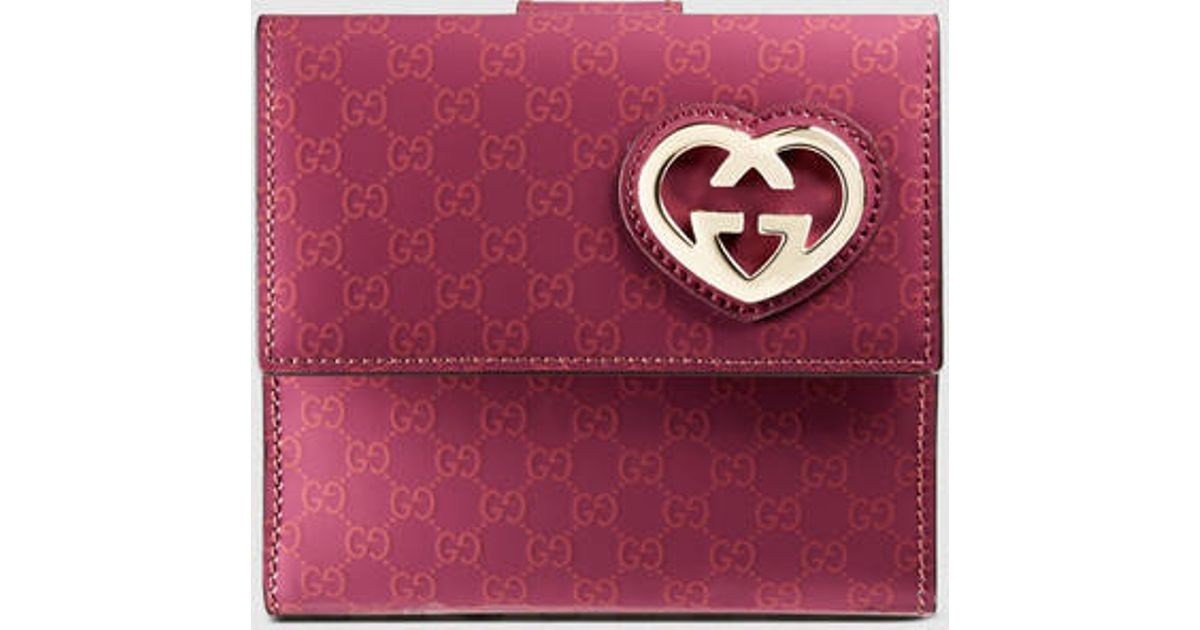 85cf8903a849 Gucci Guccissima French Flap Wallet in Pink - Lyst