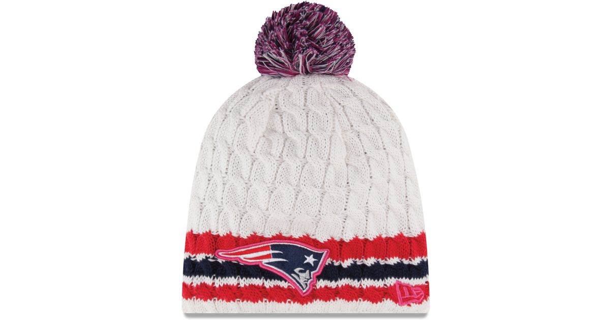 a2fc3da4f ... store lyst ktz womens new england patriots breast cancer awareness knit  hat in white 6f41a ea8a9 ...