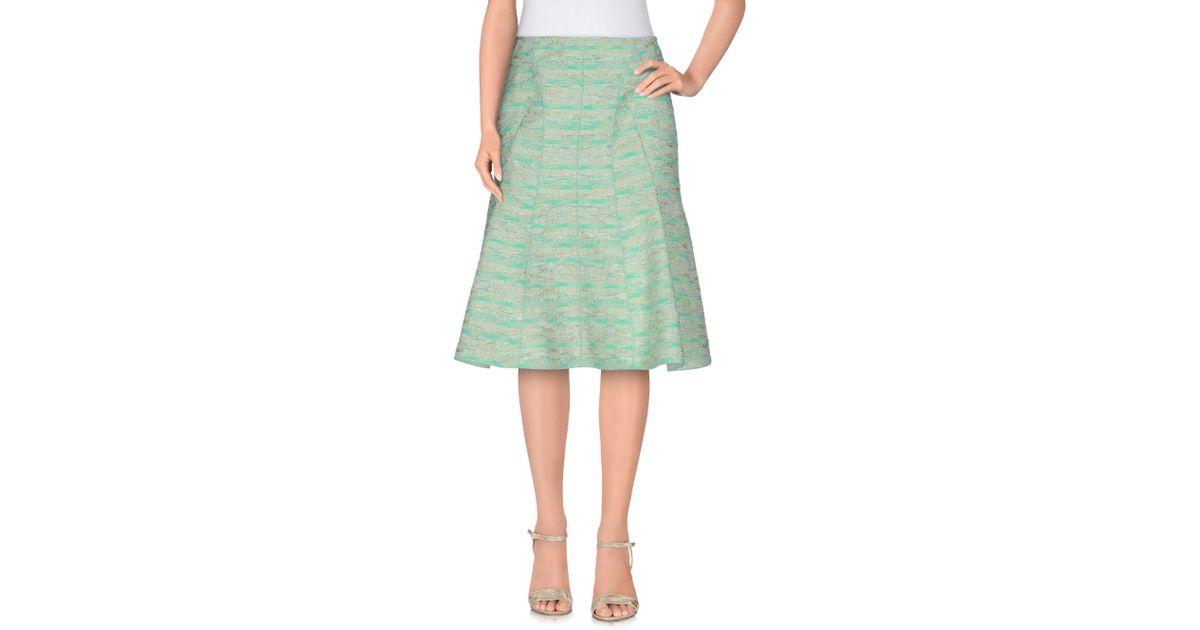 ricci knee length skirt in green lyst