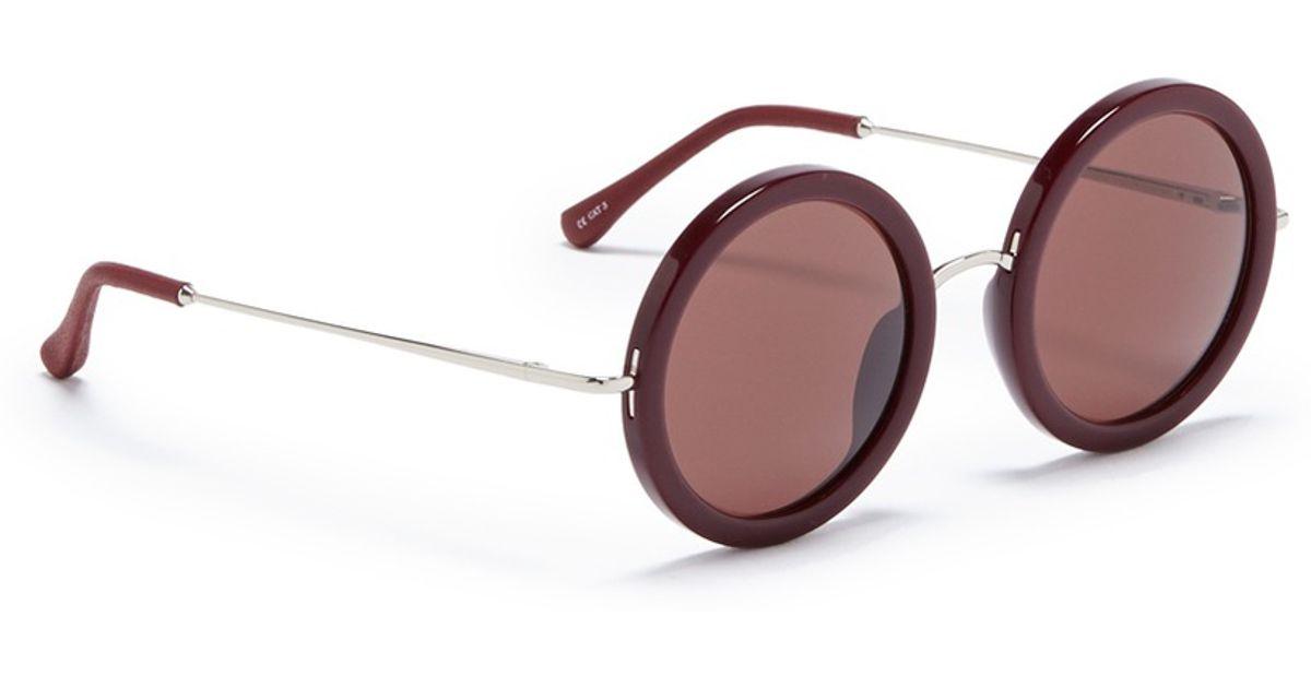 15a4820fe2e1 Lyst - The Row X Linda Farrow Wire Temple Round Acetate Sunglasses in Purple